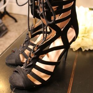 Lace Up Black Suede Heels